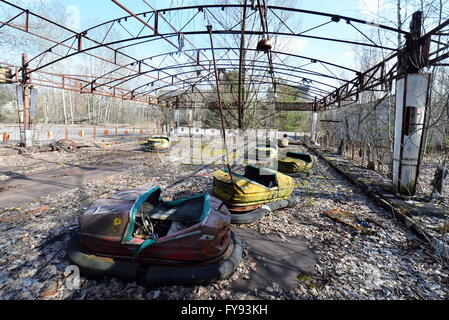 PRIPYAT, UKRAINE. Pictured in this file image is an amusement park in the abandoned town of Pripyat near the Chernobyl - Stock Photo
