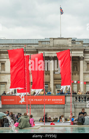 London, UK. 23rd April, 2016.St Georges day celebration at Trafalgar Square. Feast of St Georges festival. Red flags Credit:  Elena Chaykina/Alamy Live News