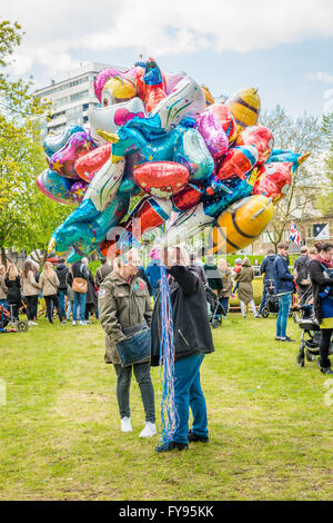 London, UK. 23rd April, 2016. St Georges day celebration at Vauxhall Pleasure Gardens. Bunch of balloons on sale - Stock Photo