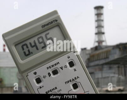 CHERNOBYL, UKRAINE. Measuring radiation level at the Chernobyl power station. On April 26, 1986, the fourth reactor - Stock Photo