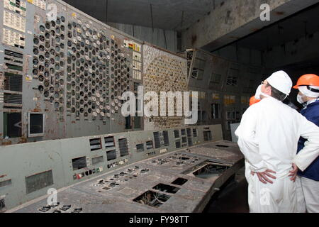 CHERNOBYL, UKRAINE. Pictured in this file image is the control room of Unit 4 of the Chernobyl power station. On - Stock Photo