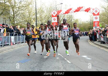 London, UK. 24th April, 2016. London Marathon Elite road runners Credit:  AH288/Alamy Live News - Stock Photo