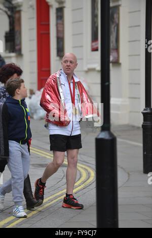 Victoria Embankment, London, UK. 24th April 2016. Runners take part in the Virgin London Marathon 2016 © Matthew - Stock Photo