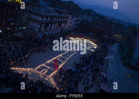 Kathmandu. 24th Apr, 2016. Photo taken on April 24, 2016 shows candles to commemorate the people who died in the - Stock Photo