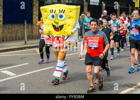 London, UK. 24th April, 2016. London Marathon 2016. Runners in Funny costumes. SpongeBob SquarePants Credit:  Elena - Stock Photo