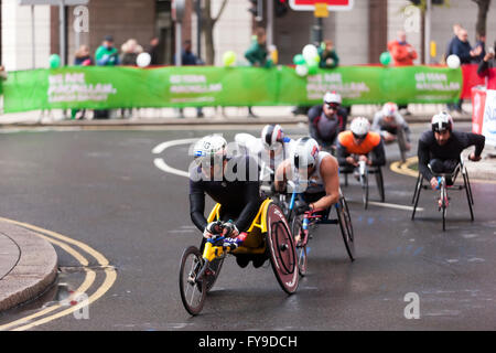 Marcel Hug,  between the 18th and 19th mile marker,  leading  the elite mens wheelchair field in the Virgin Money - Stock Photo