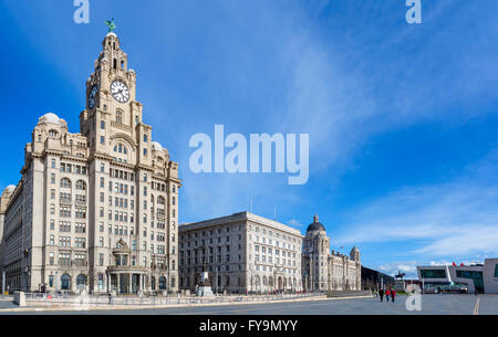The Royal Liver, Cunard and Port of Liverpool Buildings ('The Three Graces'), Pier Head, Liverpool, Merseyside, - Stock Photo