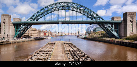 The Tyne Bridge from the Swing Bridge in Newcastle-upon-Tyne, Tyne and Wear, England, UK. The Gateshead Millennium - Stock Photo