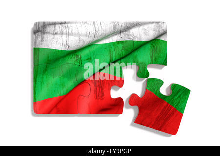 3d rendering of isolated puzzle Bulgaria flag on white background - Stock Photo