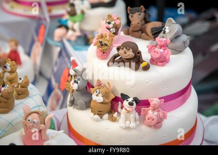 Animal shape birthday cakes decorations Cake International – The Sugarcraft, Cake Decorating and Baking Show in - Stock Photo