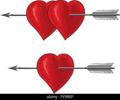 Vintage heart with arrow in engraving style - Stock Photo