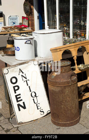 UK, Kent, Tenterden, High Street, old domestic items on display outside Antiques Shop - Stock Photo