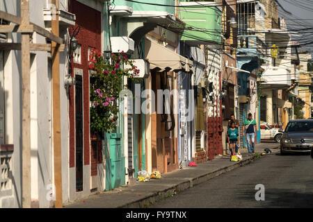 typical street, Zona Colonial, capital Santo Domingo,  Dominican Republic, Carribean, America, - Stock Photo