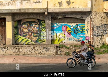 Graffiti,  Zona Colonial, capital Santo Domingo,  Dominican Republic, Carribean, America, - Stock Photo