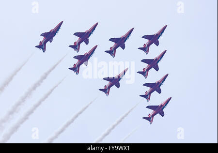 Royal Air Force Aerobatic Team Red Arrows during a display - Stock Photo
