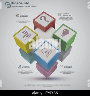 Perspective view of 3d decision cube made with 9 cubes - Stock Photo