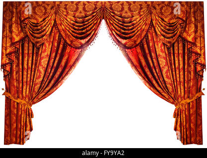 Red-gold Chinese luxury drapes on white background with clipping path - Stock Photo