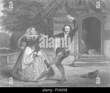 SHAKESPEARE: Chris Sly, hostess: Taming of shrew, antique print 1836 - Stock Photo