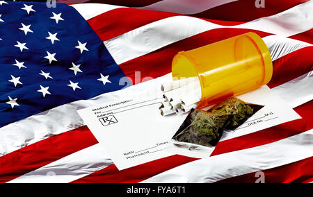 Prescription marijuana cigarettes in pill container with blank prescription form and packets of dried marijuana - Stock Photo