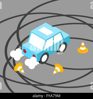Drift car traffic cone isometric.Vector illustration. EPS 10. No transparency. No gradients. - Stock Photo
