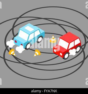Drift car isometric.Vector illustration. EPS 10. No transparency. No gradients. - Stock Photo