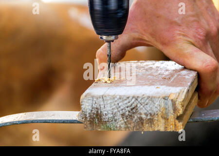 Drill with sawdust in beautiful day in summer - Stock Photo