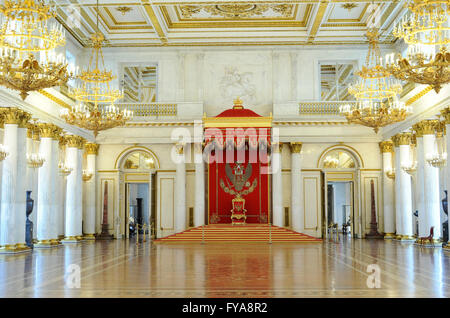 Russia. Saint Petersburg. The State Hermitage Museum. Saint George Hall or Large Throne Hall, designed by Giacomo - Stock Photo