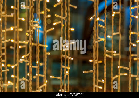 Christmas colorful lights in december - Stock Photo