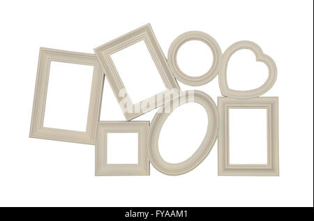Composition of different photo frames of beige color - Stock Photo