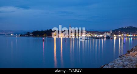 Harbor and town view, Izola, Adriatic coast, Slovenian Littoral, Istria, Slovenia - Stock Photo