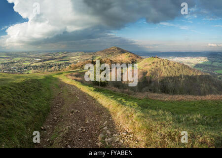 The footpath on Pinnacle hill leads through Jubillee Hill and Perseverance Hill after a heavy Winter rain storm - Stock Photo