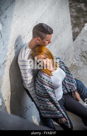 Young couple sad unhappy negative feeling tired together people teen teenage teenager MR model-released release - Stock Photo