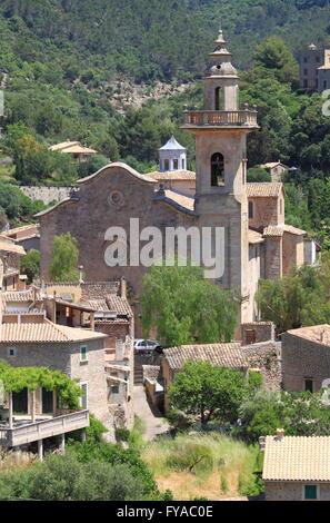 Church of St. Bartholomew in Valldemossa. Majorca island, Spain - Stock Photo