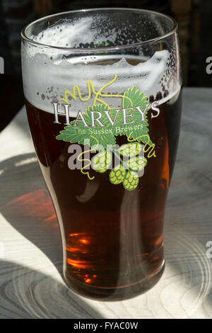 A pint of Harvey's Sussex Best Bitter. - Stock Photo