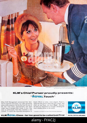 1960s magazine advertisement advertising KLM, Royal Dutch Airlines. - Stock Photo