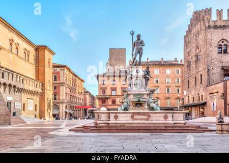 Piazza del Nettuno square in Bologna, Emilia-Romagna, Italy - Stock Photo