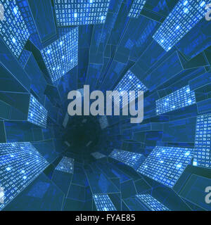 Tunnel composed by zeros and ones in a concept of cloud computing, data storage and processing. - Stock Photo