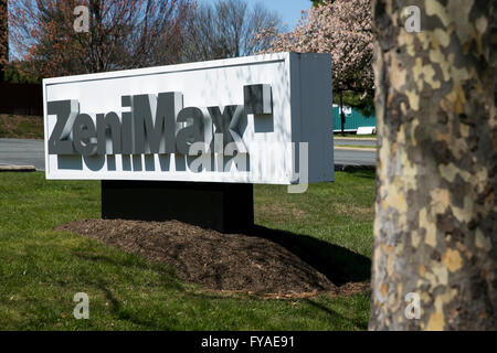 A logo sign outside of the headquarters of ZeniMax Media, parent company of Bethesda Softworks, in Rockville, Maryland - Stock Photo