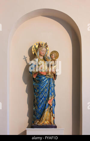 Statue of Madonna and Child at the Church of Our Lady in Bruges, Belgium - Stock Photo