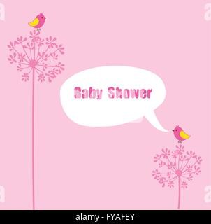 Welcome Baby; Vector Illustration Of A Baby Shower Card With Birds And  Speech Bubble   Stock Photo