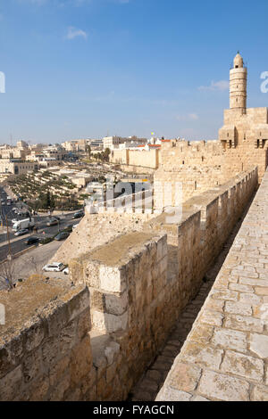 View from the old city wall of Jerusalem. - Stock Photo