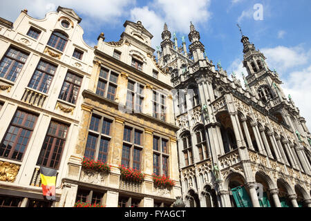 Facades on the famous Grand Place (Grote Markt) - the central square of Brussels. - Stock Photo