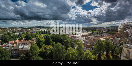View over Selby from Abbey Roof, North Yorkshire, UK. - Stock Photo