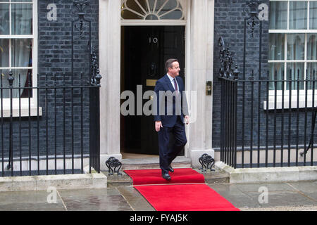 Prime Minister,David Cameron, on the doorstep of number 10 Downing Street awaiting the arrival of President Obama - Stock Photo
