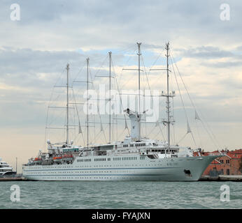Sailing cruise ship Wind Surf, IMO 8700785, one of the largest sailing vessels in the world. - Stock Photo