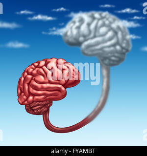 Upload to the cloud as a human organic mind uploaded to a virtual server in digital space as a futuristic technology - Stock Photo