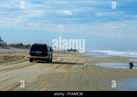 Off roading on beach Outer Banks North Carolina - Stock Photo