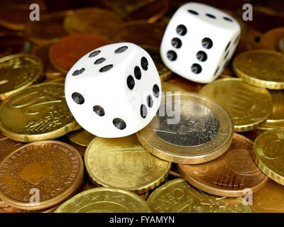 Dice and European coins money full screen, gambling concept - Stock Photo