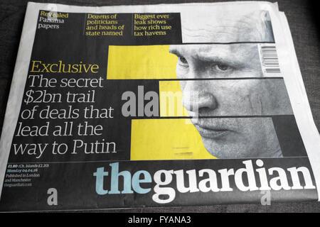 Guardian newspaper Putin headline Panama Papers article  4 April 2016 London UK - Stock Photo
