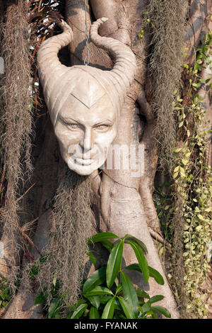 Tree mask at the Wat Rong Khun Temple in Chiang Mai, Thailand - Stock Photo